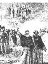 Während die Ketzer brennen, erheben die Herren der Kirche ihr Kruzifix